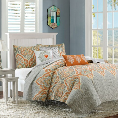 The Curated Nomad Cerritos Orange Quilted 6-piece Coverlet Set