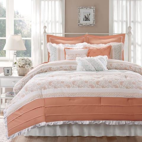 Copper Grove Burwell Cotton Percale 9-piece Coral Comforter Set