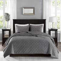 Gracewood Hollow Rio Grey Velvet 3-piece Coverlet Set