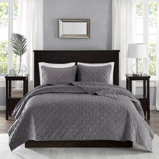 The Gray Barn Sleeping Hills Grey Velvet 3-piece Coverlet Set
