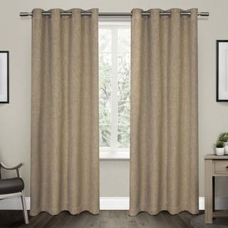 Strick & Bolton Laurette Linen Woven Blackout Grommet Top Curtain Panel Pair