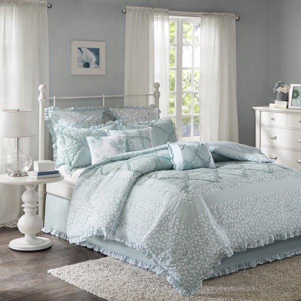 Copper Grove Burwell 9-piece Aqua Cotton Percale Duvet Cover Set