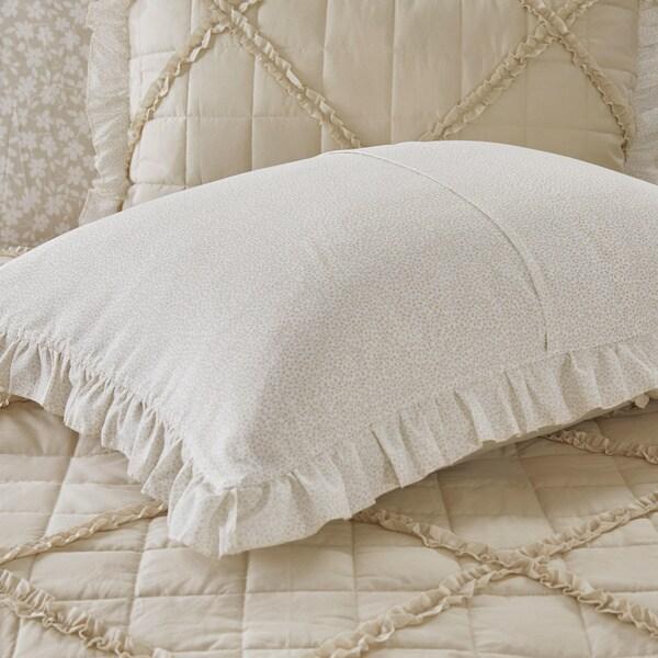 Beautiful Dusty Aqua Quilt Ruffles Floral Cotton Comforter 9 pcs Cal King Queen