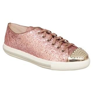 Miu Miu Pink Glitter Lux Calzature Donna Stud Sneakers Size 10