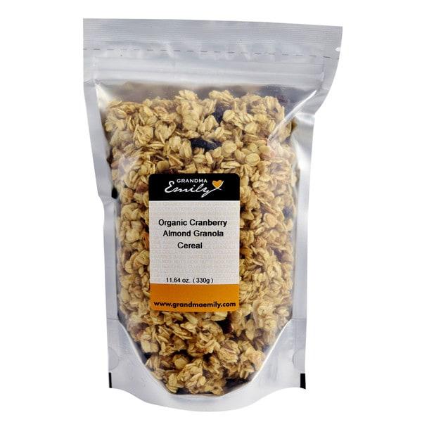 Grandma Emily's Organic Cranberry Almond Granola Cereal. Vegan. 11.64 oz x 1
