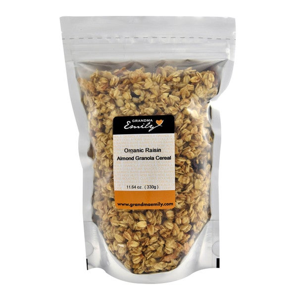 Organic Raisin Almond Granola Cereal by Grandma Emily. Vegan, Nutritive and a Great Snack/Topping as well 11.64 oz x 4
