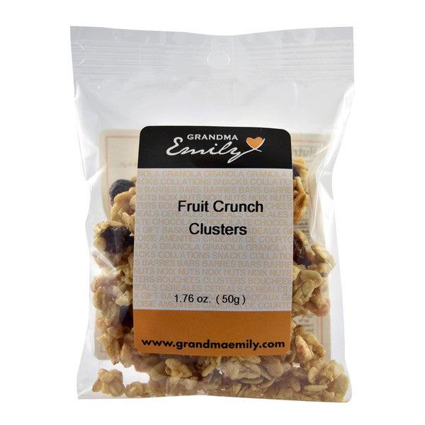 Fruit Crunch Clusters by Grandma Emily. Fruity Crunchy, Hearty Snack Packs with Raisins and Cranberries 1.76 oz x 1