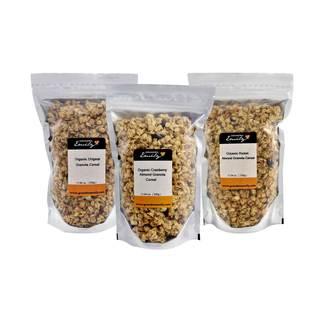 Grandma Emily Organic Granola 6 Pack. Organic Original/Organic Cranberry/Organic Raisin Almond x 6 bags