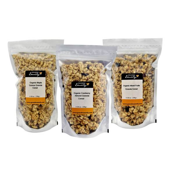 Grandma Emily Organic Granola Cereal 6 Pack. Organic Cranberry Almond/Organic Maple Quinoa/Organic Mixed Fruits x 6 bags