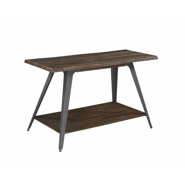 Sleek Wooden Sofa Table With Bottom Shelf, Brown