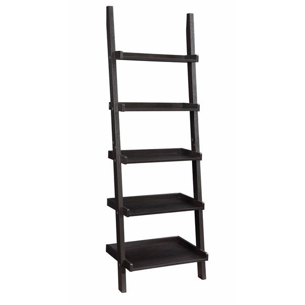 Sleek Wooden Ladder Bookcase with 5 Shelves, Brown