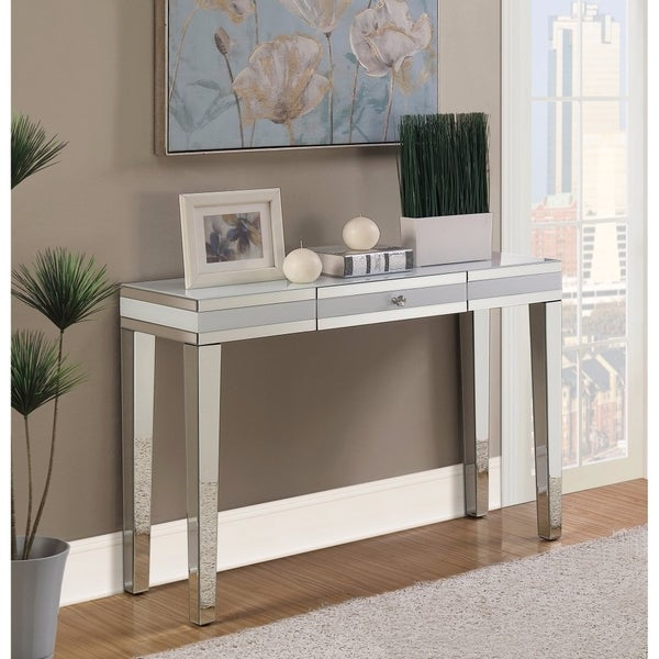 Artistically Charmed Mirrored Console Table, Silver