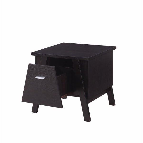 Rectangular End Table With Unique Drawer, Brown