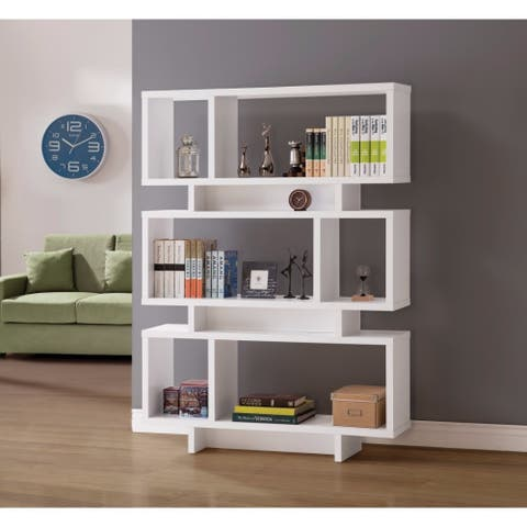 Modish Geometrically Designed Reversible Bookcase, White