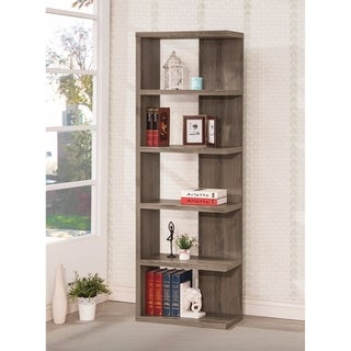 Spacious Semi-Backless Wooden Bookcase, Gray