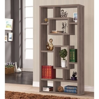 Splendid Geometric Cubed Rectangular Bookcase, Gray