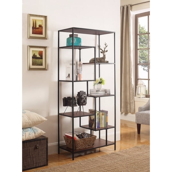 Metal Framed Bookcase With Open Shelves, Black And Brown