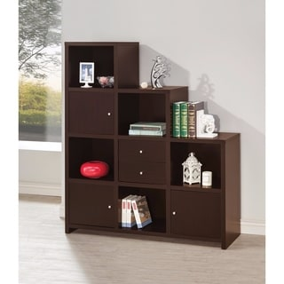 Contemporary Bookcase with Stair-like Design, brown