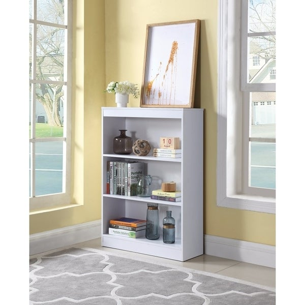 Transitional Wooden Bookcase With 3 Shelves, White