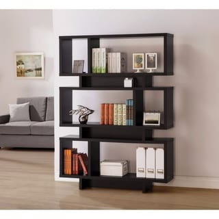 Contemporary Geometrically Designed Reversible Bookcase, Brown