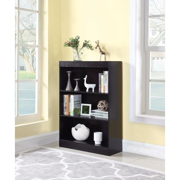 Compact Wooden Bookcase With 3 Shelves, Brown