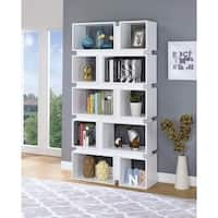 Classic Geometrically Designed Wooden Bookcase, White