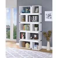 Classic Geometrically Designed Wooden Bookcase White