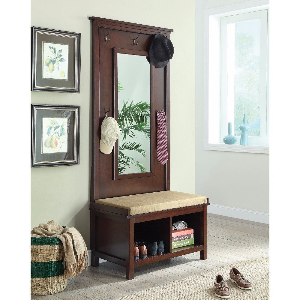 Hall Tree With Storage Bench And Mirror Brown