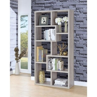 Modish Wooden Bookcase With Multiple Shelves, Gray