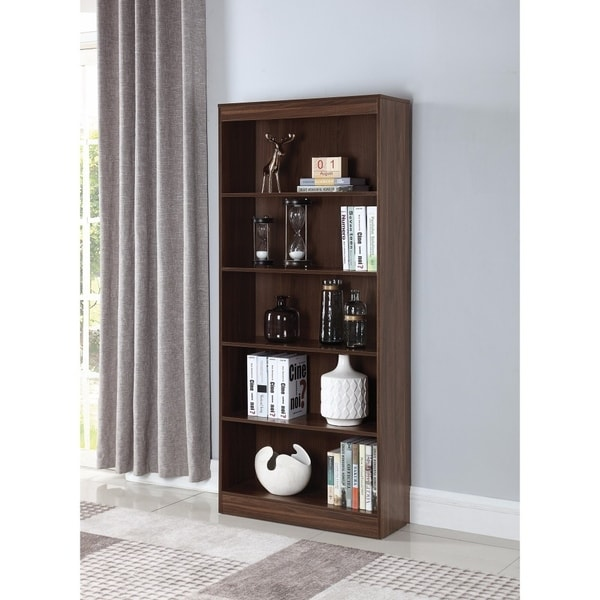 Spacious And Sturdy Wooden Bookcase With 5 Shelves, Brown