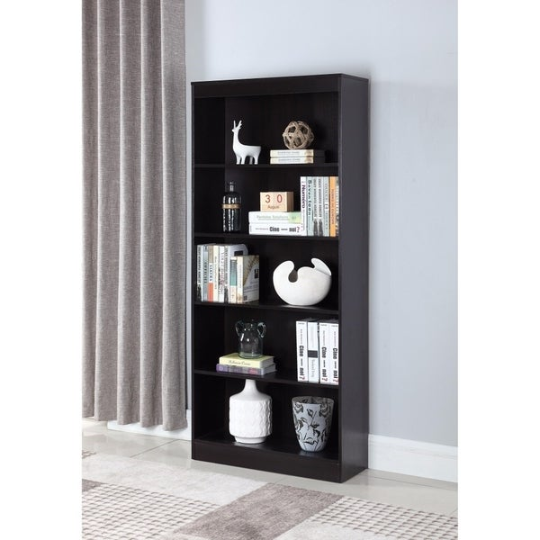 Well-made Wooden Bookcase With 5 Shelves, Brown