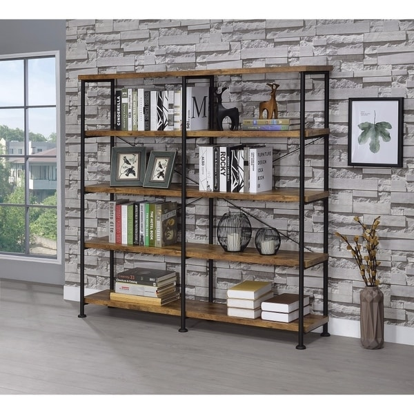 Shop Industrial Style Wood and Metal Open Bookcase, Brown ...