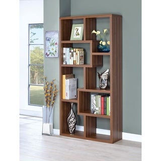 Sturdy Wooden Bookcase With Multiple Shelves, Brown
