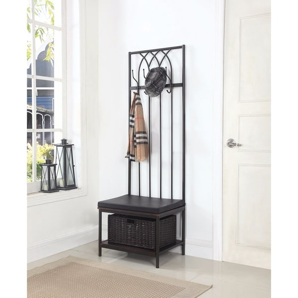 Shop Transitional Metal Hall Tree With Storage Bench Black Free