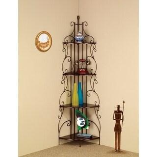 Traditional Four Tier Metal Corner Shelf Bookcase, Copper