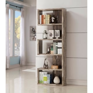 Distressed Wooden Open Bookcase, Brown