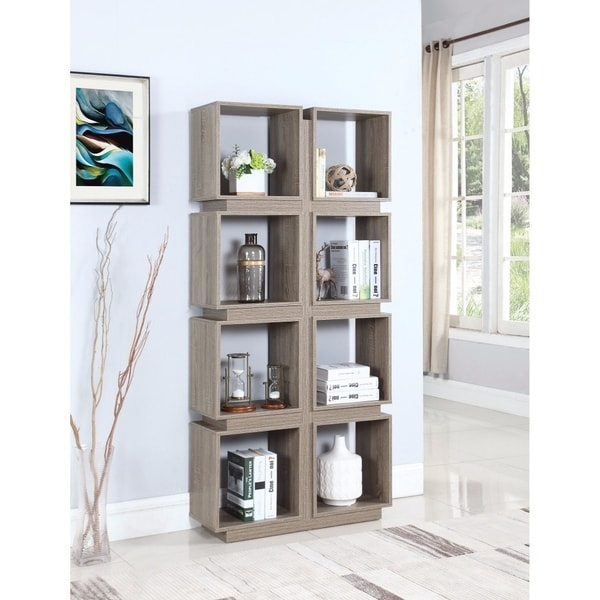 Geometrically Designed Bookcase With 8 Shelves, Gray