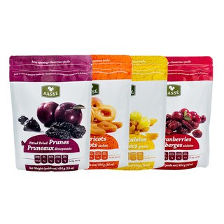 Dried Fruit Healthy Pack - Pitted Prunes, Apricots, Jumbo Raisins & Cranberries by Basse, Full of Flavor & Energy x 5 bags