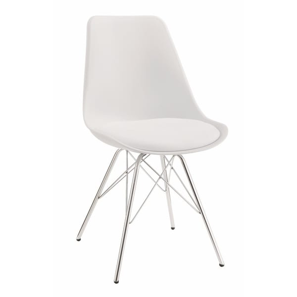 Modern Style Dining Chair with Chrome Legs, White, Set of 2