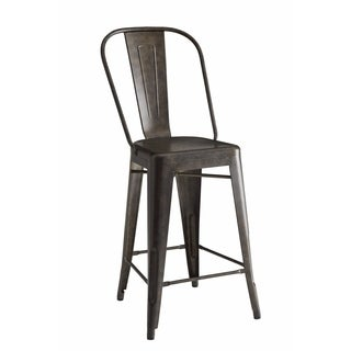 Old-style Metal Counter Height Stool, Bronze, Set of 2