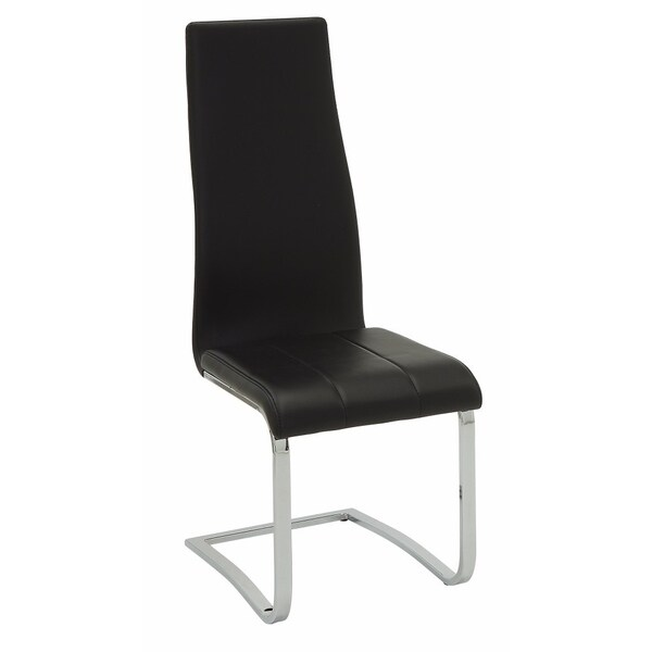 Shop Black Faux Leather Dining Chair With Chrome Legs Set Of 4