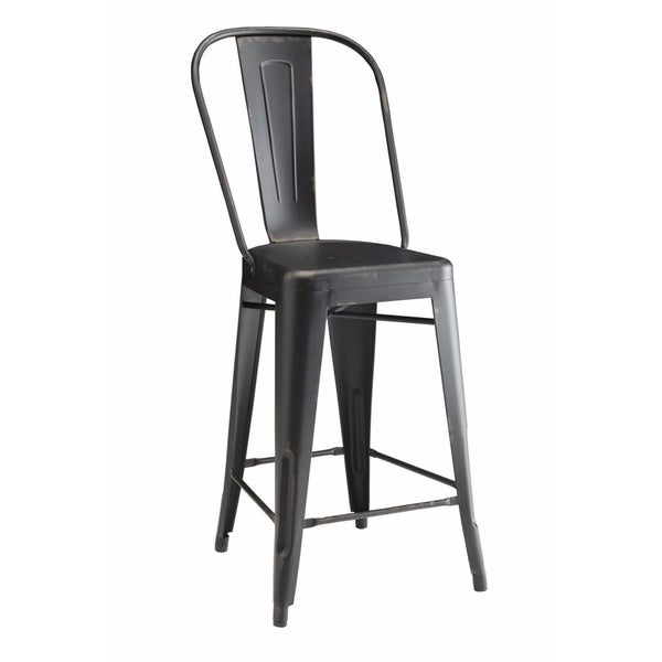 Traditional Metal Counter Height Chair, Black, Set of 2
