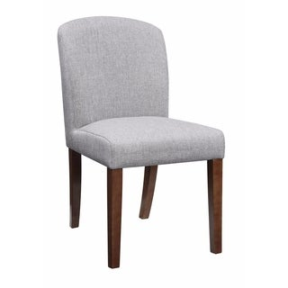 Fabric & Wooden Dining Chair, Gray & Brown, Set of 2