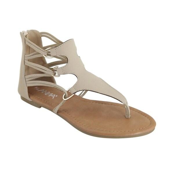b90fc9566 Anna FQ01 Women  x27 s Back Zipper Strappy Gladiator Thong Flat Sandals