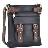 Dasein Women Soft Leather Messenger Crossbody Bag Black