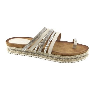 Anna Women's Embellished Multi-Straps Slide Lug Sole Toe Ring Sandals