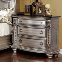 Furniture of America Hester Traditional Genuine Marble Top 3-drawer Nightstand