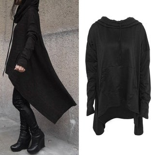 Ladies Hooded Tops Cotton Blended Solid Long Irregular Hi-Lo Hem Loose Blouse T-Shirt