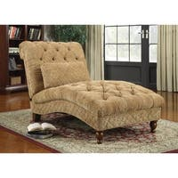 Traditional Tufted Upholstered Chaise Lounge Chair With Pillow, Gold