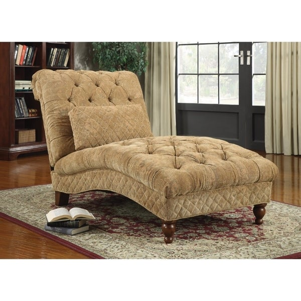Charmant Traditional Tufted Upholstered Chaise Lounge Chair With Pillow, Gold